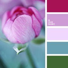 color cerceta, color de las peonías, color lila, color malva rosáceo, color rojo sonrosado, color rosa aberenjenado, color verde azulado, malva pálido, matices de color lila, paletas de diseño, rojo sonrosado, rosa aberenjenado, rosado pálido, tonos rosados, verde y rosado.