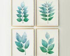 Simple Colorful Printable Art 30% off when you buy by EphericaArt Botanical Wall Art, Botanical Prints, Botanical Decor, Leaf Prints, Wall Art Prints, Aqua Walls, Hand Drawn Flowers, Artwork Display, Online Print Shop