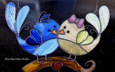 Stained Glass Lovebirds Suncatcher by PixieDustGlassStudio on Etsy