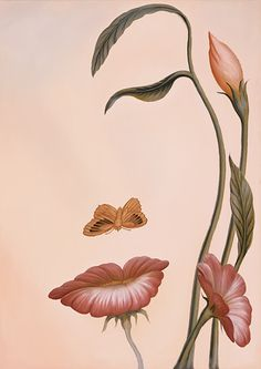 A surrealist illusion painting by Octavio Ocampo that uses butterflies and flowers to create a woman's face