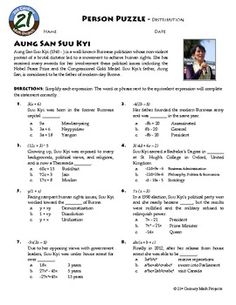 A new one! Person Puzzle: Algebra -- Distribution -- Aung Sang Suu Ky