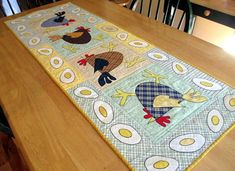 Spring Table Runner Whimsical Chickens Quilted Table Runner