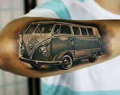 Picture & tattoo: Danieldd D. Volkswagen, Vw Bus, Vw Camper, Body Art Tattoos, Sleeve Tattoos, Cool Tattoos, Vw Tattoo, Combi Vw, Cartoon Tattoos