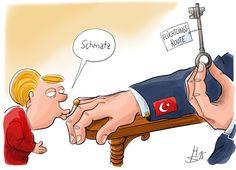 """Karikatur: Angela Merkel und der Schlüssel zur """"Lösung"""" der Flüchtlingskrise - http://www.statusquo-news.de/karikatur-angela-merkel-und-der-schluessel-zur-loesung-der-fluechtlingskrise/"""