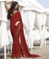 Red Color Two Tone Checks Georgette Party Wear Sarees : Shelja Collection  YF-40101