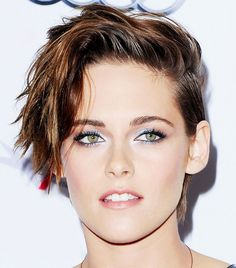 Kristen Stewart's Choppy Side-Swept Cropped Hair + Icy Metallic Eye Shadow