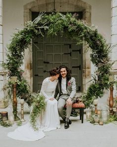@elinvernaderooviedo crafted this giant leafy wreath and it's absolutely INCREDIBLE! We could see this being used for so many different types of weddings… And we especially love how to the circular hoop represents continuous and endless love. This Spanish elopement #onGWS {link in bio!} ️️ photog: @m2visualstudio | venue: @palaciodemoutas | design + planning: @livinglasbodas | florals: @elinvernaderooviedo | dress: @bebascloset | hairpiece: @martaybern | shoes: @missgarci