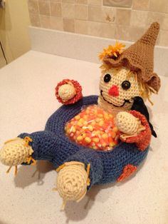 Fall Crocheted Scarecrow Candy Dish.
