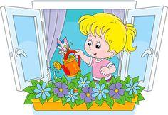 Girl watering flowers vector image on VectorStock Kindergarten Classroom Setup, Action Pictures, Winter Crafts For Kids, Kids Calendar, Cartoon Pics, Summer Art, Fabric Painting, Clipart, Decoration