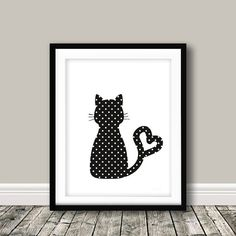 Cat Wall Decor,Cat Art Print,Black and White Cat Poster,Cat Poster, Cat Wall Art,Cat Silhouette Print,Polka Dot Cat,Cat Wall DecorCat Art PrintBlack and White by KeepItSimplePrint