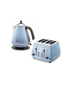Delonghi Icona 4 Slice Toaster & Kettle Bundle Duck Egg Blue