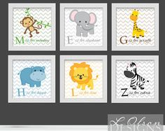 Zoo Safari Animals Chevron and Letters Nursery by LOlsonDesigns