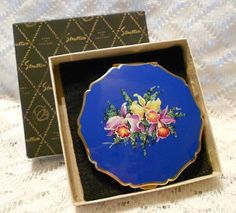 Vintage Stratton Gold Tone with Blue Enamel Floral Scene Convertible Compact Made in England 30% Off Using Coupon Code!