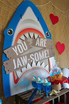 You Are Jaw-some Valentine's Day Party day party ideas You Are Jaw-some Valentine's Day Party - Just Add Confetti Valentinstag Party, Megalodon, Hawaian Party, Boy Birthday Parties, Shark Birthday Ideas, 4th Birthday, Diy Birthday Banner, Valentines Day Party, Shark Week