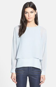 Topshop Layered High/Low Long Sleeve Blouse (Nordstrom Exclusive) available at #Nordstrom
