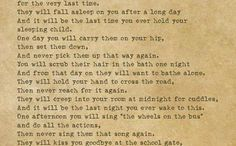 The last time poem for new parents