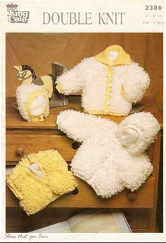 vintage knitting pattern for baby or toddler girls loopy cardigan jacket bolero and bonnet years Sirdar Knitting Patterns, Baby Cardigan Knitting Pattern, Knitted Baby Cardigan, Knitting Yarn, Hooded Cardigan, Hooded Jacket, Vintage Knitting, Double Knitting, Bonn