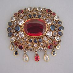 """HOBE blue, red and clear unfoiled rhinestone brooch with dangles, circa 1950, a nice size at 2-1/3"""" by 2-1/3"""