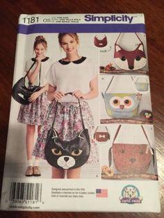 Simplicity-Sewing-Pattern-1181-Animal-Face-Purses-Handbags-Totes-Bags