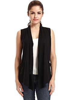 Basico Women's Solid Knit Shrug Cardigan Sweater Vest Scarf Two ...