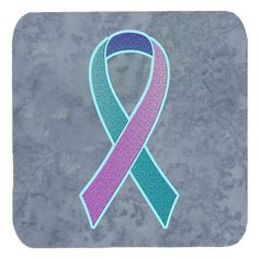 Set of 4 Teal - Pink and Blue Ribbon for Thyroid Cancer Awareness Foam Coasters AN1217FC #artwork #artworks