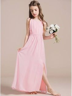 JJsHouse A-Line/Princess Scoop Neck Floor-Length Ruffle Split Front Zipper Up at Side Cap Straps Sleeveless No Blushing Pink General Chiffon Junior Bridesmaid Dress. Teenage Bridesmaid Dresses, Dusty Pink Bridesmaid Dresses, Junior Bridesmaids, Dresses For Tweens, Girls Dresses, Flower Girl Dresses, Pink Dresses, Junior Dresses, New Dress Pattern