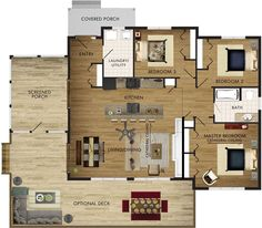 Lodgepole Floor Plan single story, but interesting floor plan - look at more on this site Cottage Floor Plans, Cottage Plan, House Floor Plans, House Plans One Story, Dream House Plans, Small House Plans, Beaver Homes And Cottages, Plan Chalet, Lake Cabins
