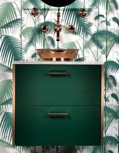 A jungle water room with this emerald green furniture and plant wallpaper that blends perfectly with the copper by clemATC Modern Bathrooms Interior, Contemporary Bathroom Designs, Bathroom Design Small, Dream Bathrooms, Bathroom Interior Design, Beautiful Bathrooms, Bathroom Paint Colors, Bathroom Wall Decor, Bathroom Green