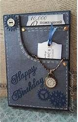 Мужские открытки--Denim pocket with watch and tags. Masculine Birthday Cards, Birthday Cards For Men, Handmade Birthday Cards, Masculine Cards, Greeting Cards Handmade, Cards For Men Handmade, Female Birthday Cards, Men Birthday, Card Birthday