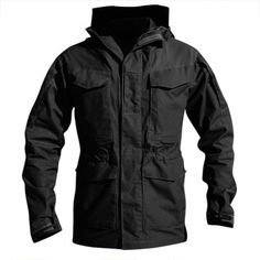 Pockets Hooded Solid Color Outdoor Wind Proof Water Repellent Trench Coat for Men