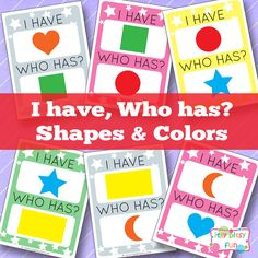 I have Who Has Shapes and Colors - Learning Games for Kids - Itsy Bitsy Fun