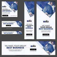 Buy Business Banners by Hyov on GraphicRiver. Promote your Products and services with this great looking Banner Set. Youtube Banner Design, Youtube Banners, Web Banner Design, Display Banners, Web Banners, Display Ads, Pamphlet Template, Banner Template, Facebook Ad Size
