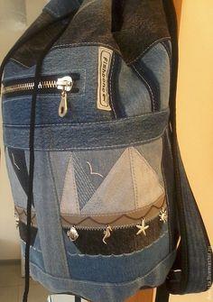 """Купить Рюкзак джинсовый """"Морской"""" - рюкзак, джинсовый рюкзак, рюкзак мужской, рюкзак женский"""