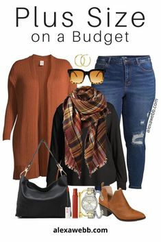 Plus Size on a Budget - Rust Cardigan for Fall with Distressed Jeans, Blanket Scarf, and Ankle Booties - Alexa Webb #plussize #alexawebb Curvy Girl Fashion, Look Fashion, Autumn Fashion, Plus Fashion, Womens Fashion, Fashion Ideas, Plus Size Fashion For Women, Fashion Styles, Fashion Tips