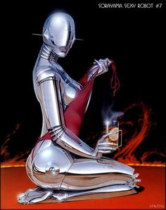 30 Sexy Robot Oil Paintings by Hajime Sorayama - Modern and Metallic Pinups. Follow us www.pinterest.com/webneel