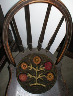 PrimiTive Folkart Penny Tree Of Life Hooked Rug PATTERN on Etsy, $12.89 CAD