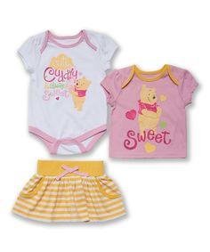 Loving this Pink & Yellow Winnie the Pooh Bodysuit Set - Infant on #zulily! #zulilyfinds
