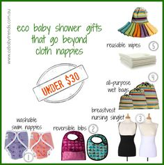Top 5 Eco Baby Shower Gifts - all under $30 - if you're not sure mum wants to do cloth!