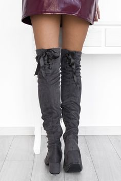 Courtney Suede Grey Over The Knee Boots