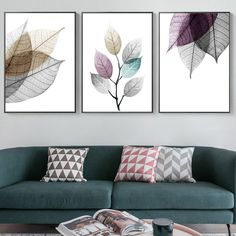 Watercolor Abstract Leaves Canvas Paintings Poster Print Nordic Minimalist Wall Art Pictures for Living Room Bedroom Home Decor