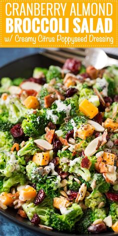 Broccoli Salad Recipe (make-ahead potluck side!) - The Chunky Chef - Cranberry Almond Broccoli Salad with Citrus Poppyseed Dressing Chef Salad Recipes, Chicken Salad Recipes, Healthy Salad Recipes, Dinner Recipes, Cooking Recipes, Potluck Recipes, Vegan Recipes, Chopped Cobb Salad, Mexican Chopped Salad