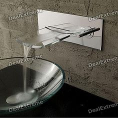 $85  Stylish Wall Mounted Chromed Copper Pull-Out Waterfall Kitchen Sink Faucet - Silver