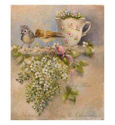 Dos bebé gorrión y lilas blancas - Pintura original de Helen Flont