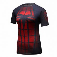 Comic book superhero costumes turned into high quality superhero compression shirts for women? Yeah we found the best women's hero shirts for you here. Superman T Shirt, Batman, Spiderman, Gym Shirts, Casual Shirts, Crossfit Men, Crossfit Equipment, Compression T Shirt, Rash Guard Women