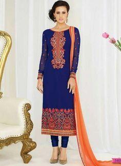 Blue Orange Embroidery Work Georgette Chiffon Designer Fancy Churidar Suit http://www.angelnx.com/Salwar-Kameez/Churidar-Suits