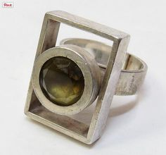 Elis Kauppi for Kupittaan Kulta, Modernist sterling silver and citrine geometric ring. #Sold Follow Finland Jewelryfacebook ● twitter ● pinterest ● google+  or subscribe