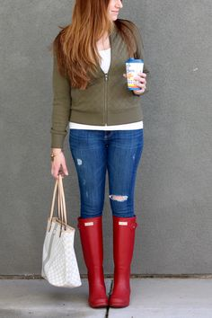 An Easy Outfit with the Basics – She Knows Chic  red Hunter rain boots, green bomber jacket, rainy day outfit