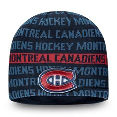 check out 85e89 7f79b Men s Montreal Canadiens Fanatics Branded Navy Red Authentic Pro Rinkside -  Knit Beanie, Your Price   27.99 CAD. NHL Caps   Hats