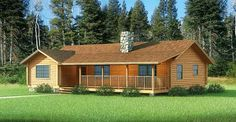 This Blue Ridge Log Home might be just the thing you are looking for if you want a traditional three ... Log Cabin Floor Plans, Log Home Plans, Cabin Plans, House Floor Plans, Log Cabin Homes, Log Cabins, Modular Homes, Little Houses, Blue Ridge