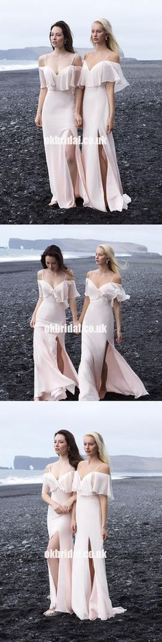 Newest Off Shoulder Slit Backless Cheap Chiffon Bridesmaid Dresses, KX1113
